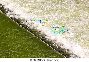 agua, cascada, verde