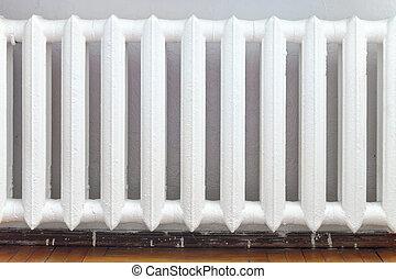agua, cast-iron, calefacción, radiador