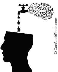 agua, cerebro, cabeza, suministro
