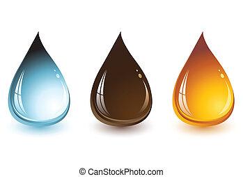 agua, chocolate, y, miel, gotas