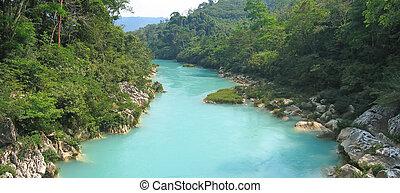 agua, clara, rio, superior, vista, méxico, panorama