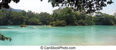 agua, clara, rio, vista lateral, méxico, panorama
