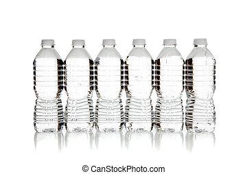 agua, claro, botellas, blanco, fila