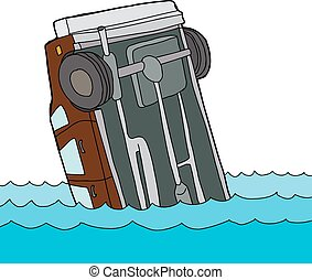 agua, coche, flotar