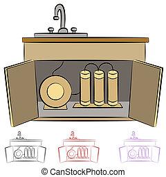 agua, cocina, filtración, sistema, fregadero
