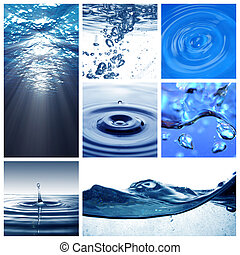 agua, collage, themed