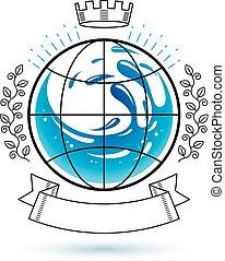 agua, concept., frescura, océano, ambiente, advertisement., tema, vector, conservación, excepto, logo.