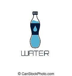 agua, concepto, diseño, botella,  vector