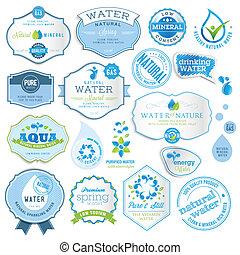 agua, conjunto, etiquetas