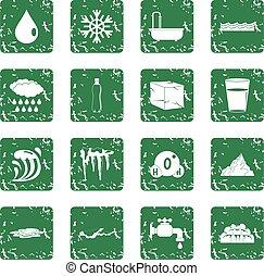 agua, conjunto, grunge, iconos