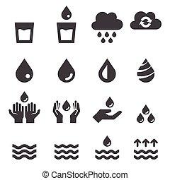 agua, conjunto, icono