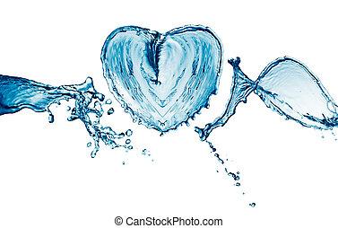 agua, corazón, burbujas, salpicadura