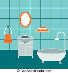 agua, cuarto de baño, lavado, illustration., belleza,...