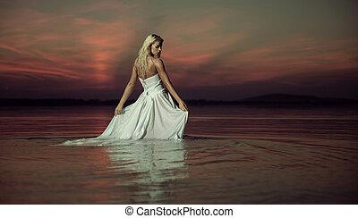 agua, dama, sensual, bailando