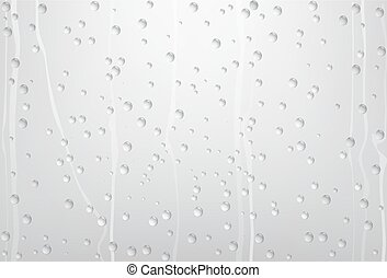 agua de lluvia, gotas, en, vidrio, con, gris