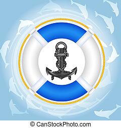 agua, delfines, lifebuoy, encima