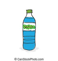 agua, dibujado, botella, mano