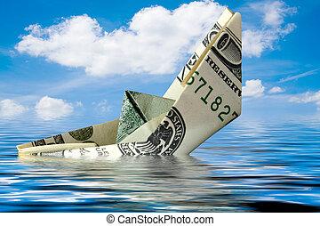 agua, dinero, barco, crisis., concepto