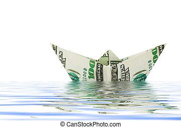 agua, dinero, barco, hecho