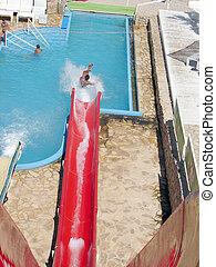agua, diversión, diapositiva, rojo