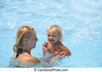 agua, diversión, teniendo, mom., niño