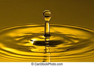 agua, dorado, salpicadura