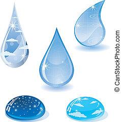 agua, droplets., colección