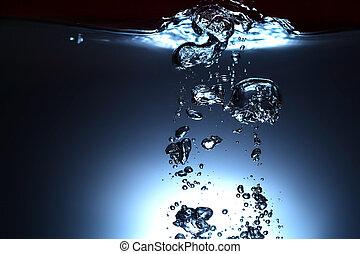 agua dulce, con, burbujas