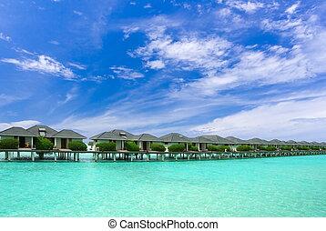 agua, edificios, maldivas