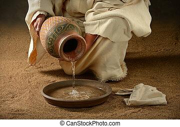agua, el verter, cacerola, jesús