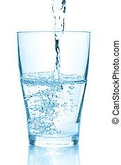 agua, el verter, en, vidrio
