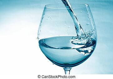 agua, el verter, fresco