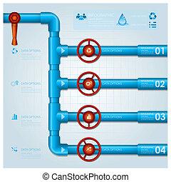 agua, empresa / negocio, tubo, infographic, diseño, plantilla