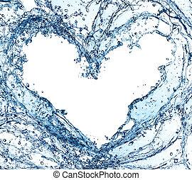 agua, en, un, forma corazón