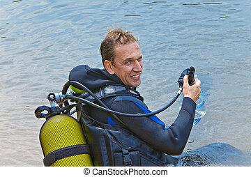 agua, equipo, buceo, hunde, escafandra autónoma, hombre