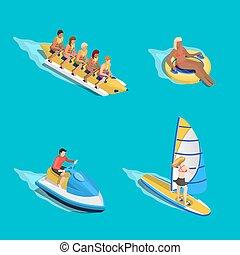 agua, equitación, gente, conjunto