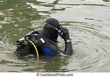agua, escafandra autónoma, entrar, buzo