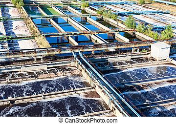 agua, estación, tratamiento, aguas residuales