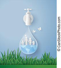 agua, familia , mundo, día