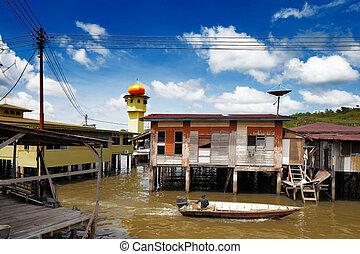 agua, famoso, brunei's, aldea