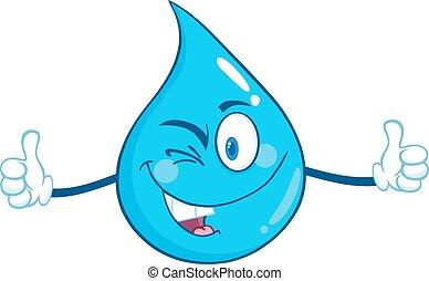 agua, feliz, carácter, gota