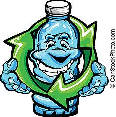 agua, feliz, caricatura, botella, plástico