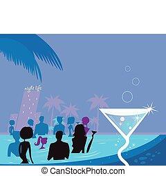 agua, fiesta, night:, las personas presente, piscina, y, fresco, martini, bebida