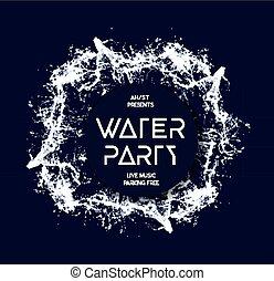 agua, fiesta, salpicadura