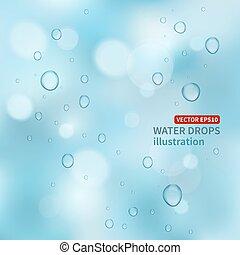 agua, fondo., gotas, vector
