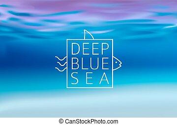 agua, fondo velado, con, línea, señal, profundo, azul, mar