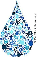 agua, forma, excepto, diversidad, mano
