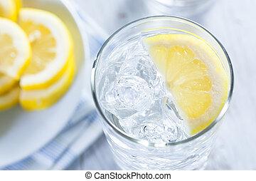 agua, frío, limón, refrescante, hielo