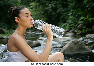 agua, fresco, bebida, mujer, primavera