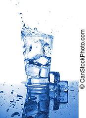 agua, fresco, vaso